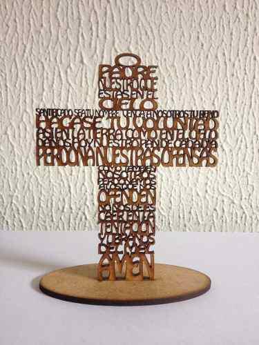 Adorno Cruz Oracion Padre Nuestro Recuerdo En Mdf 15 Cm