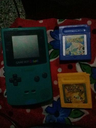 Game Boy Color Con Pokemon Amarillo Y Pokemon Azul