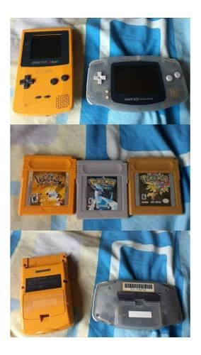 Nintendo Game Boy Color Y Advance Con 3 Juegos Pokémon