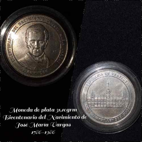 Moneda Conmemorativa De José María Vargas De Plata
