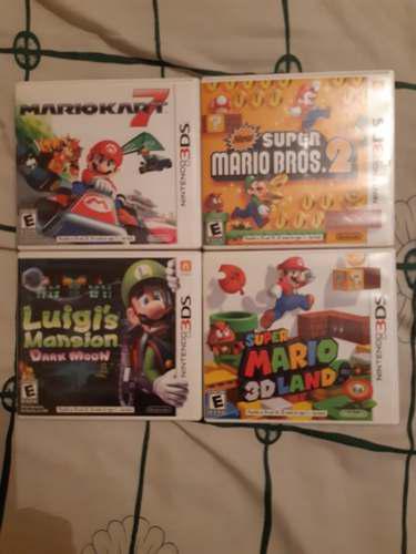 Mario Kart 7, Luigis Mansion, Marios Bros 2, Mario 3d Land