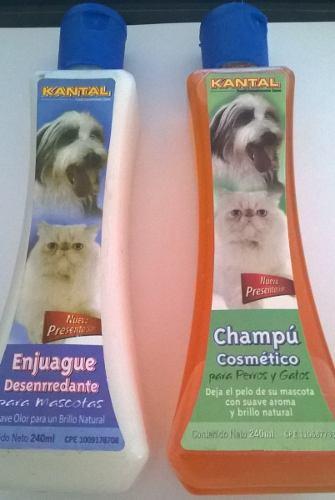 Combo Champu Cosmetico Y Desenredante Perros Y Gatos 240ml
