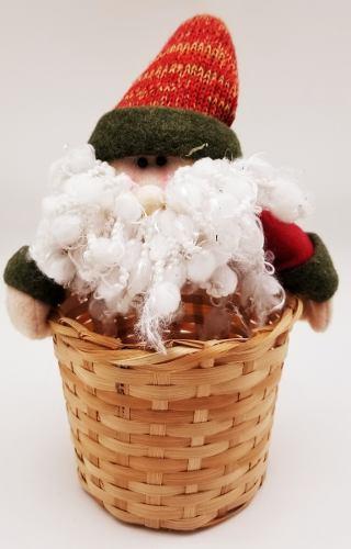 Adorno Navideño Cesta Decorativa De Mimbre Santa De Navidad