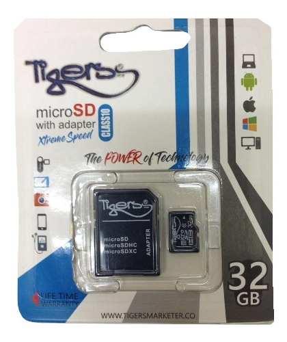 Memoria Micro Sd 32gb Tigers Clase 10 Nueva Gs