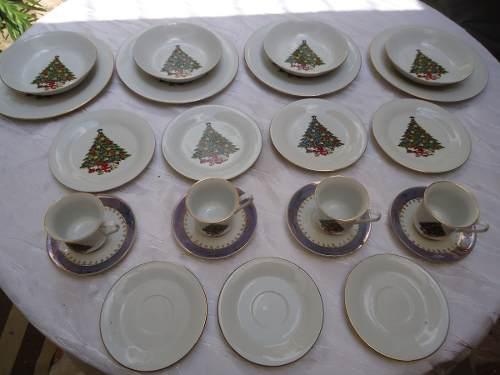 Vajilla De Navidad De Porcelana Fina Para 4 Puestos. Arbol