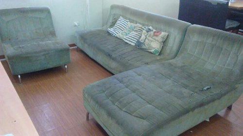 Muebles Modulares Tipo L Con Sillon Para Tapizar- 120 Verdes
