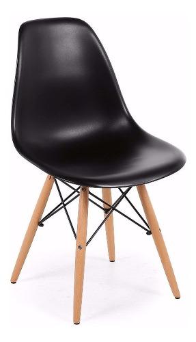 Silla De Diseño Eames Patas De Madera Asiento Negro