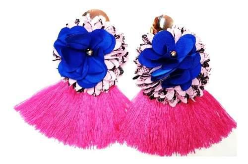 Zarcillos De Flores Y Borlas Moda Femenina