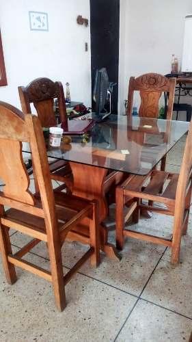 Mesa De Comedor 4 Puestos Madera Y Vidrio O Solo Madera.
