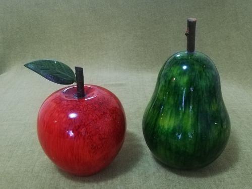 Frutas De Madera Para Decorar Pera Y Manzana