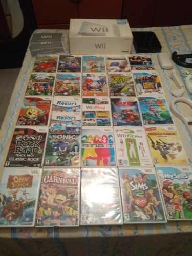 Wii Original Con 27 Juegos Originales Un Control, Accesorios