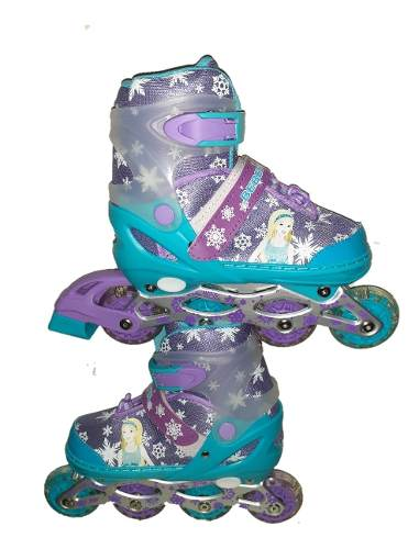 Patines Lineales Con Luces + Kit Para Niñas Frozen +4