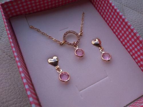 Set De Collar Y Zarcillos Cristal Laminado De Oro Goldfilled