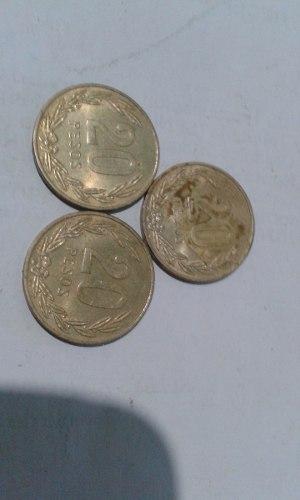 Tres Monedas Antiguas De 20 Pesos