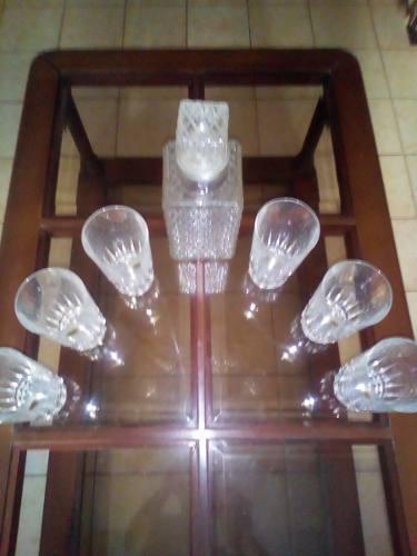 Licorera De Cristal Y Seis Vasos De Cristal D´arques
