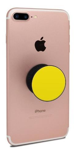 Pop Socket Soporte Selfie Unicolor Amarillo Con Base