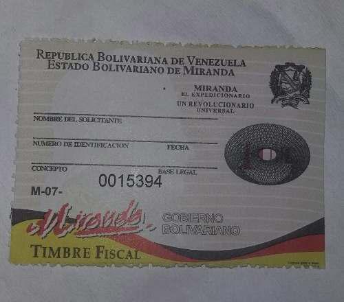 Timbre Fiscal Estampilla De 1ut De Miranda Tramites Gtu (60m