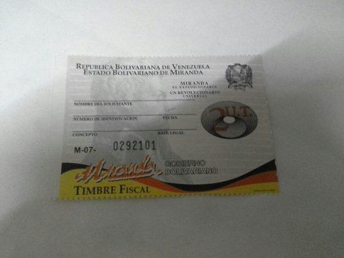 Timbre Fiscal Estampilla De 2ut De Miranda (70mil Bs)
