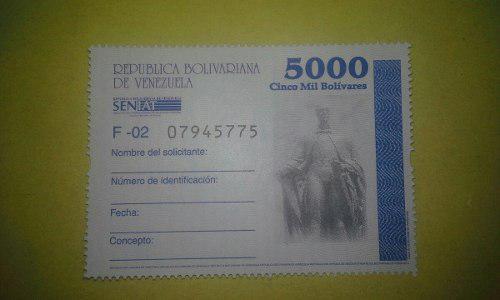 Timbre Fiscal Nacionales 5000 Bs