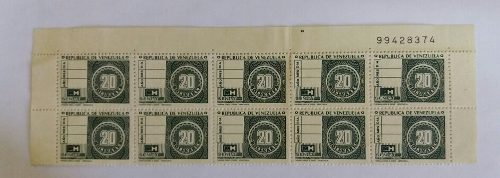 Antiguos Estampillas Timbres Fiscales De 20 Bolivares