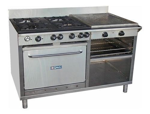 Cocina Industrial 4 H Horno Plancha Gratinador En Acero Inox