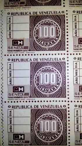 Estampilla Timbre Fiscal 100 Bs De Colección,3 Vrds C/u