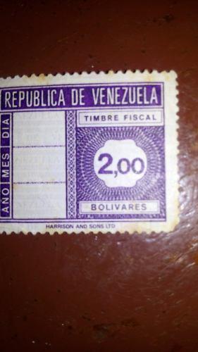 Estampilla Timbre Fiscal 2 Bs De Coleccion, 3 Vrds
