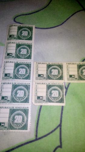 Estampilla Timbre Fiscal De 20 Bs De Colección, 3 Vrds
