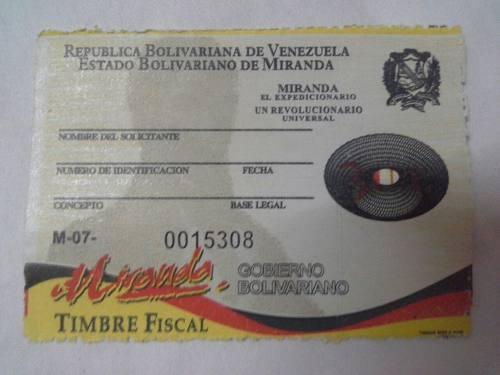 Timbre Fiscal Estampilla De 3ut De Miranda (80mil Bs)