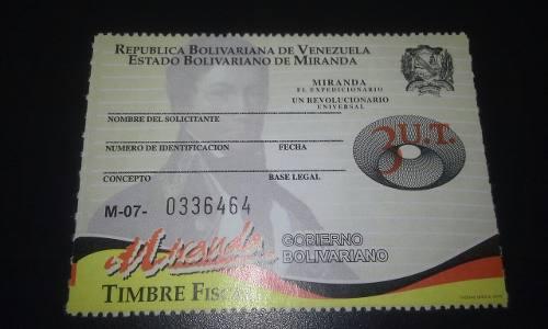 Timbre Fiscal Miranda 3ut (65 Mil Bs)