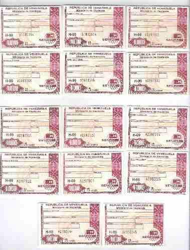 Timbres Fiscales De  Bolívares 2 Seriales Consecutivos