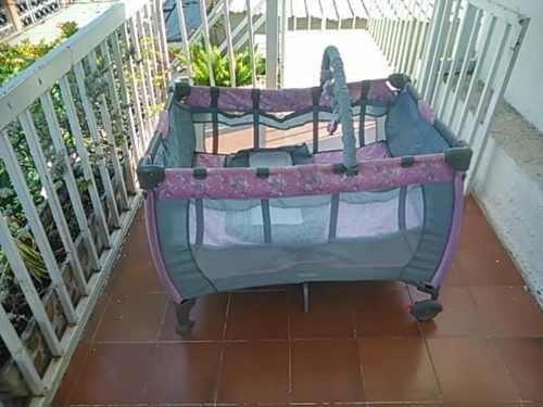 Corral Para Bebe Niñas Rosado Y Gris Mosquitero Buen Estado