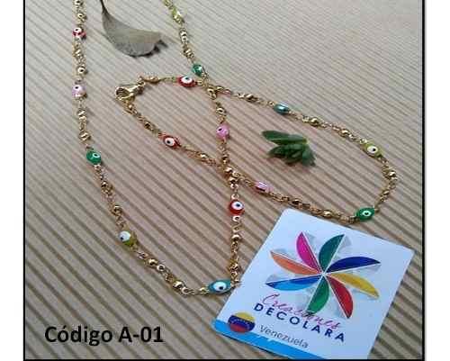 Juego De Acero Ojo Turco Ojitos De Colores Collar + Pulsera