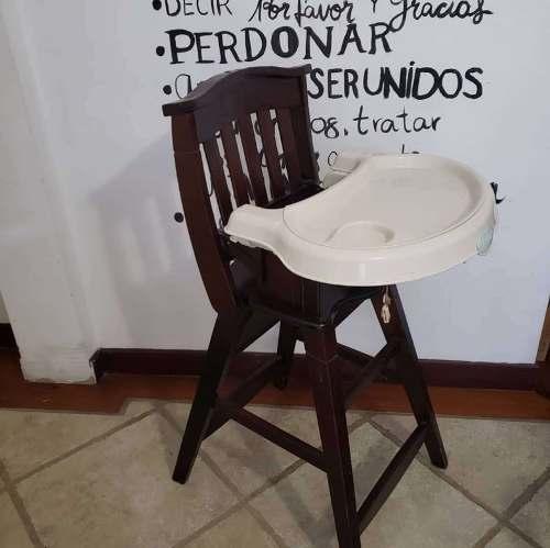 Silla De Bebe Para Comer De Madera. Con Plato Extraíble