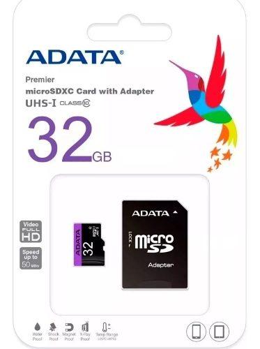 Memoria Micro Sd 32 Gb Adata Clase 10 Con Su Adaptador