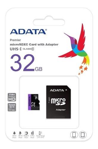 Memoria Micro Sd Adata 32gb Clase 10 Con Adaptador