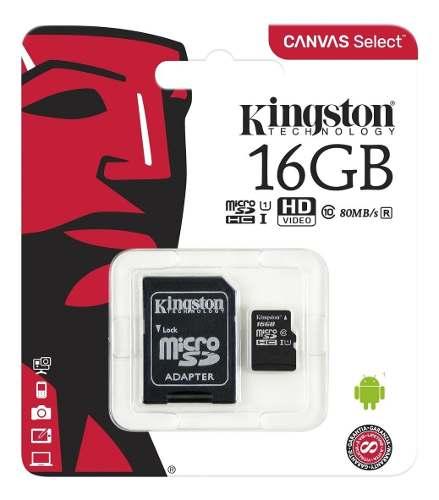 Memoria Micro Sd Kigston 16gb Clase 10 Con Adaptador (8 Usd)