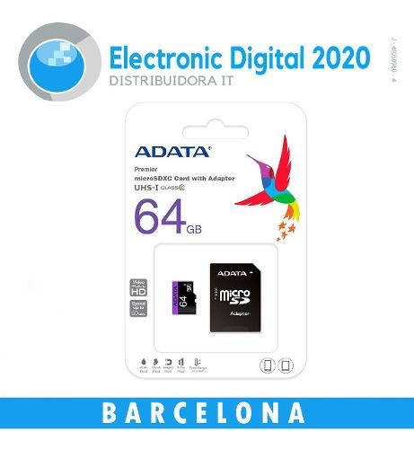 Memoria Micro Sd Marca Adata 64 Gb