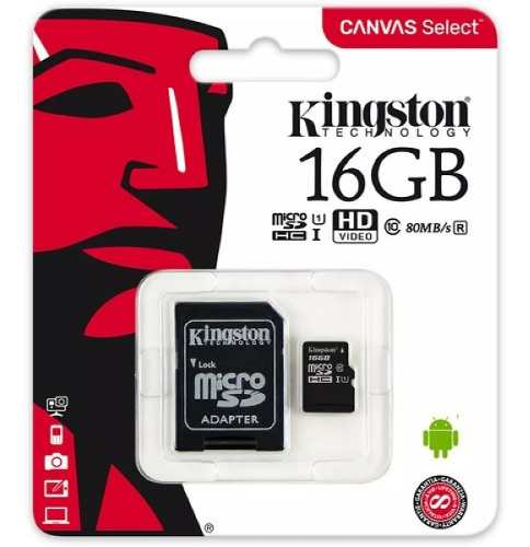 Memoria Micro Sd Marca Kingston 16 Gb Clase 10 Sdhc (8 Vrds)
