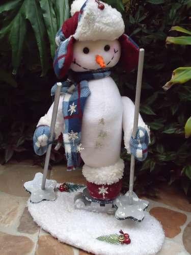Bellisimo Muñeco De Nieve De Navidad. Base En Madera.