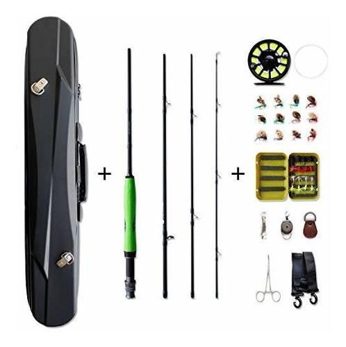 Pesca Mosca Combo Baston Portable Rod Carrete Kit