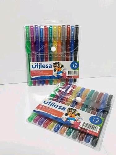 Bolígrafos Gel Escarchado 12 Colores Venta X 4 Paquetes