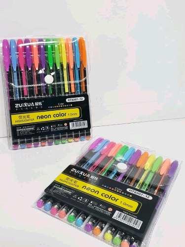 Bolígrafos Gel Fluorescentes 12 Colores Venta X 4 Paquete