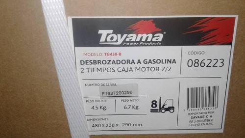 Desmalezadora Corta Grama Podadora Toyama 43cc A Gasolina
