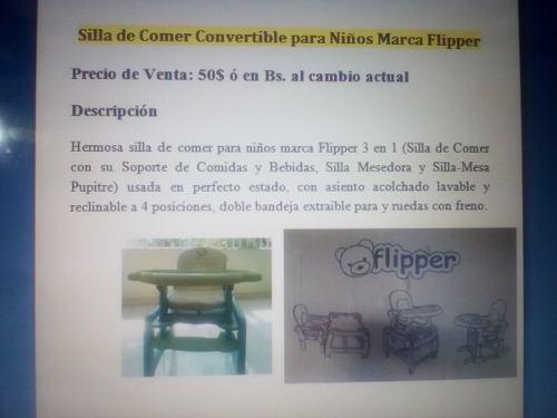 Silla De Comer Convertible Para Niños Marca Flipper