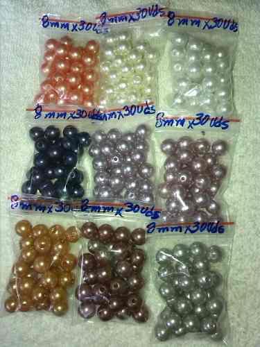 Perlas 8 Mm Bisutería Ropa Y Manualidades X 12 Paquetes