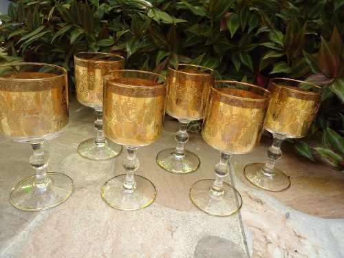 Set De 6 Copas De Cristal Con Bordes De Oro Y Alto Relieve