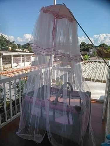 Mosquitero Para Niñas Grande Color Blanco Con Cinta Rosada
