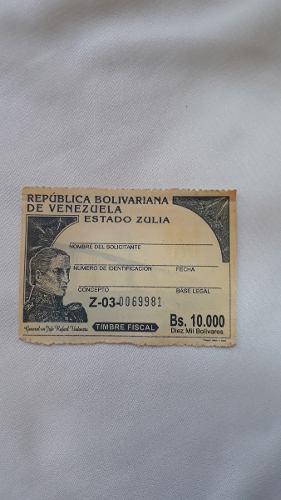 Timbre Fiscal De Valor 10.000 Bs Nuevo