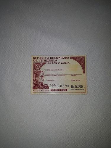 Timbre Fiscal De Valor 5.000 Bs Nueva